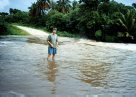 Vanuatu 1997 - Mark McGrouther at river in flood