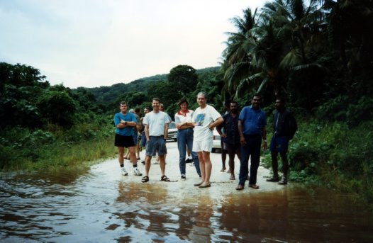 Vanuatu 1997 - the crew safely on the bank