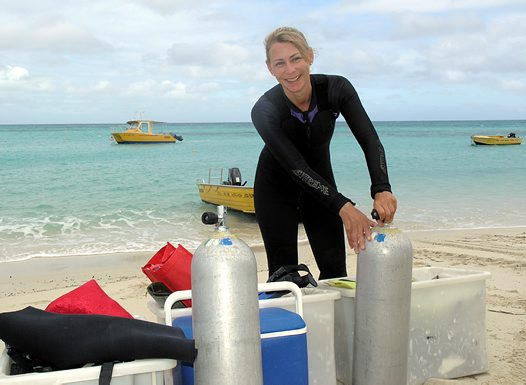 Preparing for a dive, Lizard Island Research Station