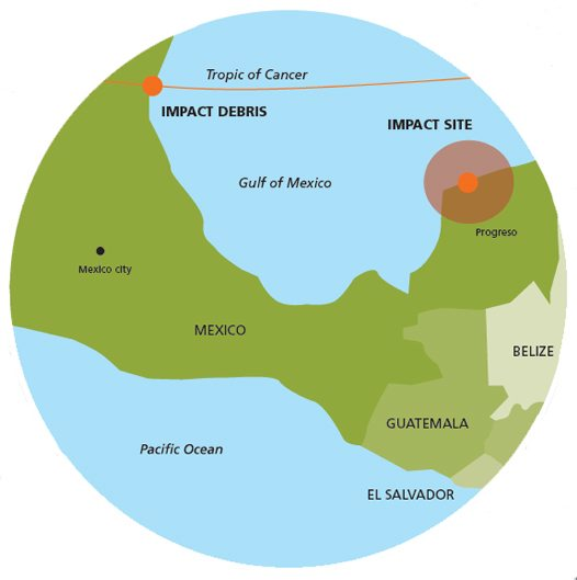 Close-up map of meteorite impact site, Mexico