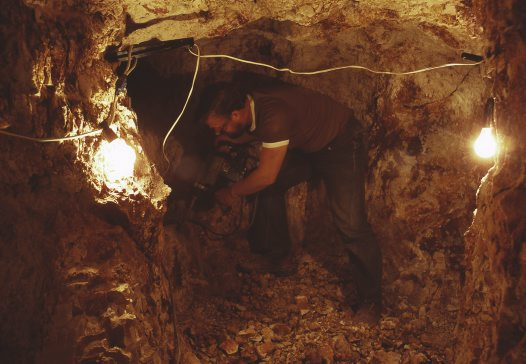 Inside an opal mine at Lightning Ridge