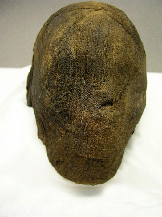 Ancient Egyptian mummy head - front view