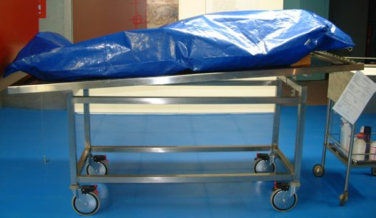 mortuary, body bag, bag, body, tray, trolley