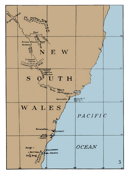 Map of Gould's journey, New South Wales