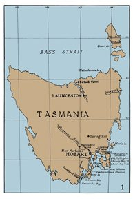 Map of Gould's journey, Tasmania