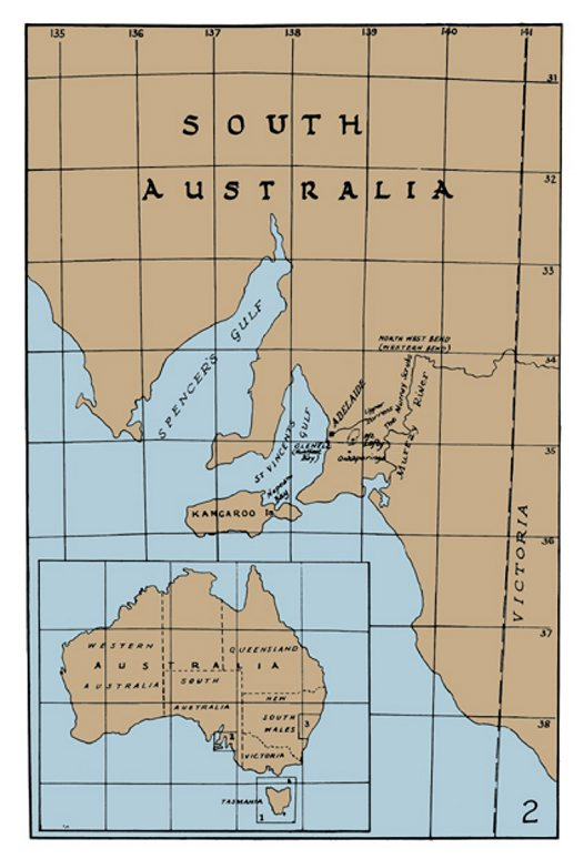 Map of Gould's journey, South Australia