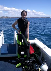Amanda Hay gearing up for dive