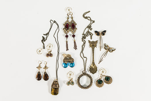 A number of jewellery pieces of Victoria Spring for the Australian Museum Jewellery Collection for the Scott Sisters exhibition