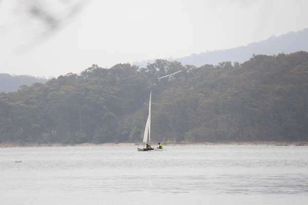 NSW fires - connecting to all activities Wallaga Lake - December 2019 Sailors had to pay even more attention to surroundings with the lake also being used allegedly by aircraft refilling their water tanks before returning to fires in the Ulladulla area. Initially looking like training flights with touch-and-goes, we were informed later that it was a water bomber (unconfirmed, but likely).
