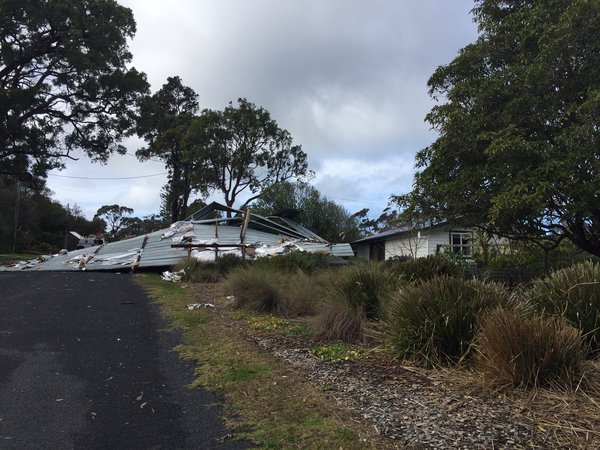 Our roof on the road, Beauty Point, 27 July 2020. I felt like Dorothy in the wizard of Oz! In hindsight I think it must have been a mini tornado as it was so quick and then silent.