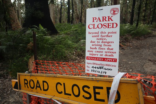 No entry to parts of the forest during bushfire recovery at Murramarang National Park, July 2020