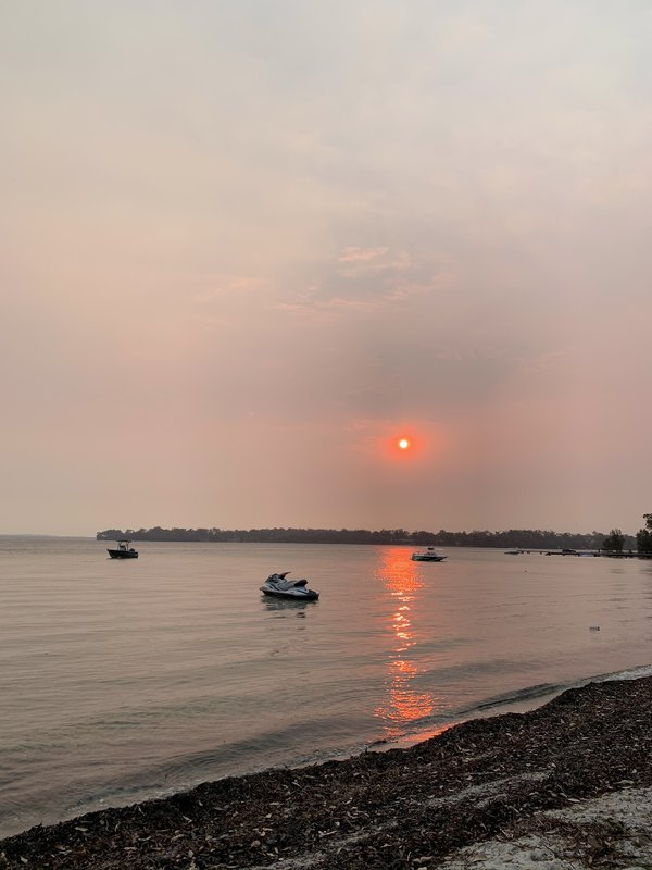 30 December 2019 - a bizarrely fluorescent sunset at Erowal Bay, south coast of NSW. A warning of the bushfires that would rage closer the following day.