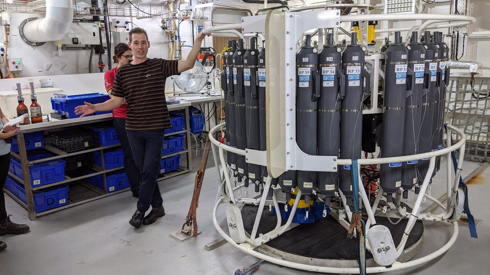 The CTD, an instrument for water sampling.