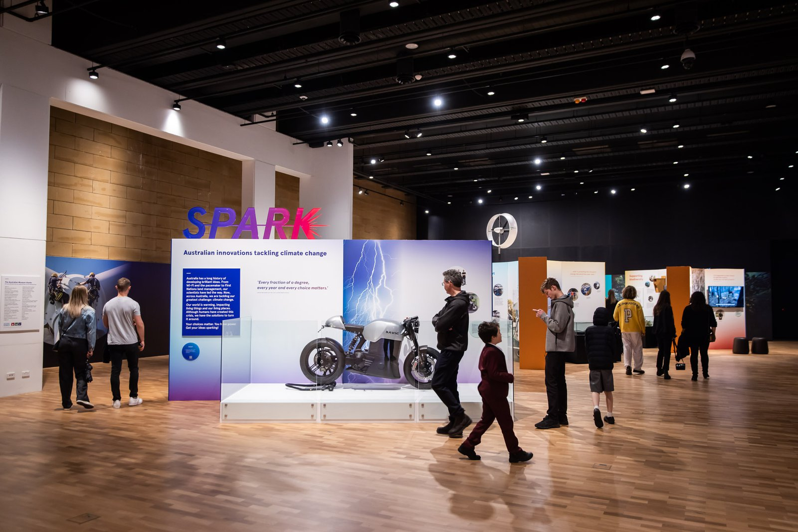 Visitors viewing the Spark exhibition