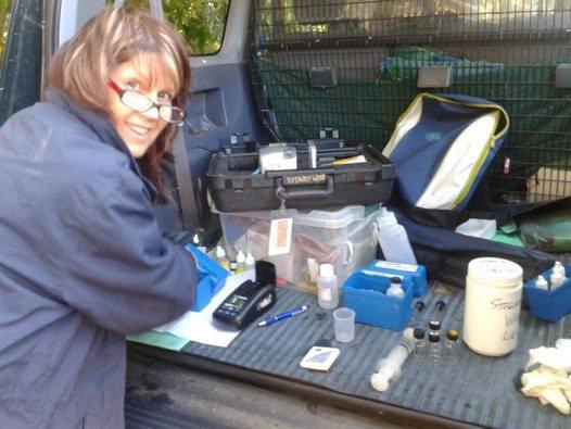 Volunteers monitoring water quality