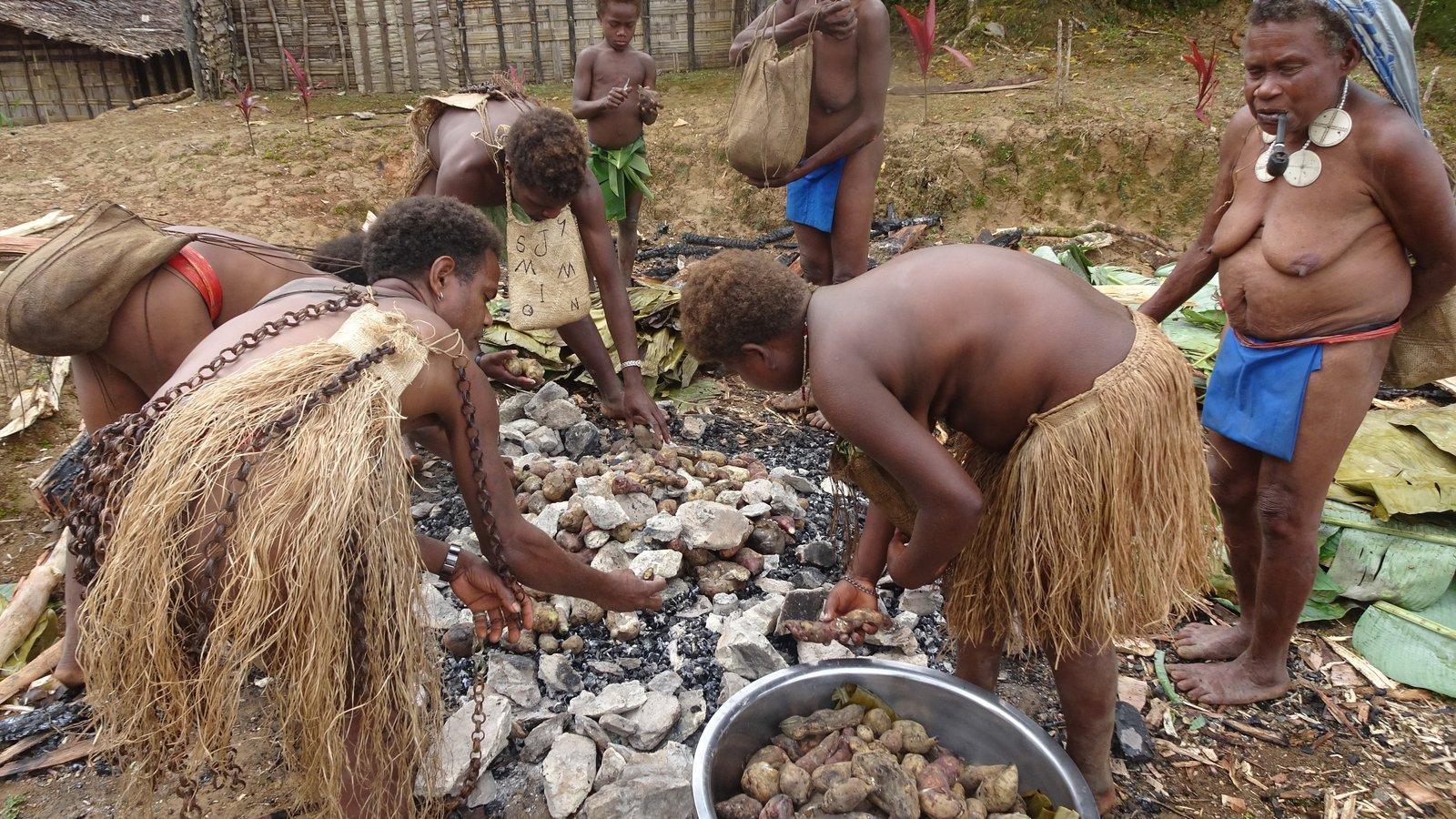 crop, roast pig, taro, sweet potato, rice, water cress (24)