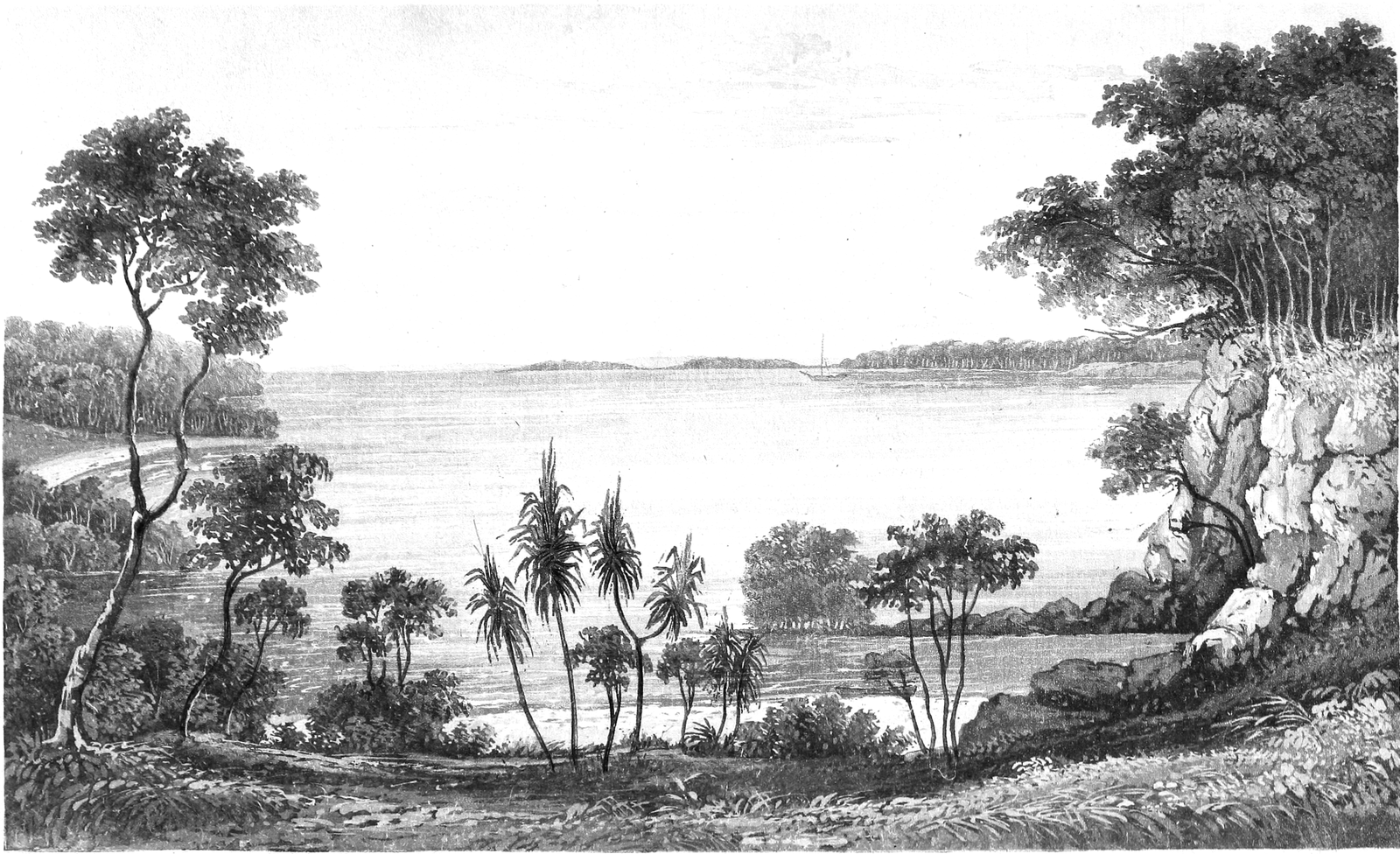 "This is the frontispiece from Volume 1 of Phillip Parker King's Narrative of a survey of the intertropical and western coasts of Australia (1827). It is entitled ""View in Raffles Bay, with Croker's Island in the distance"