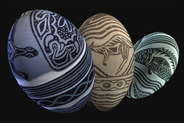 3 Carved Emu Eggs