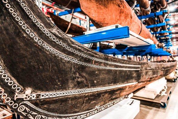 Wooden boat in storage