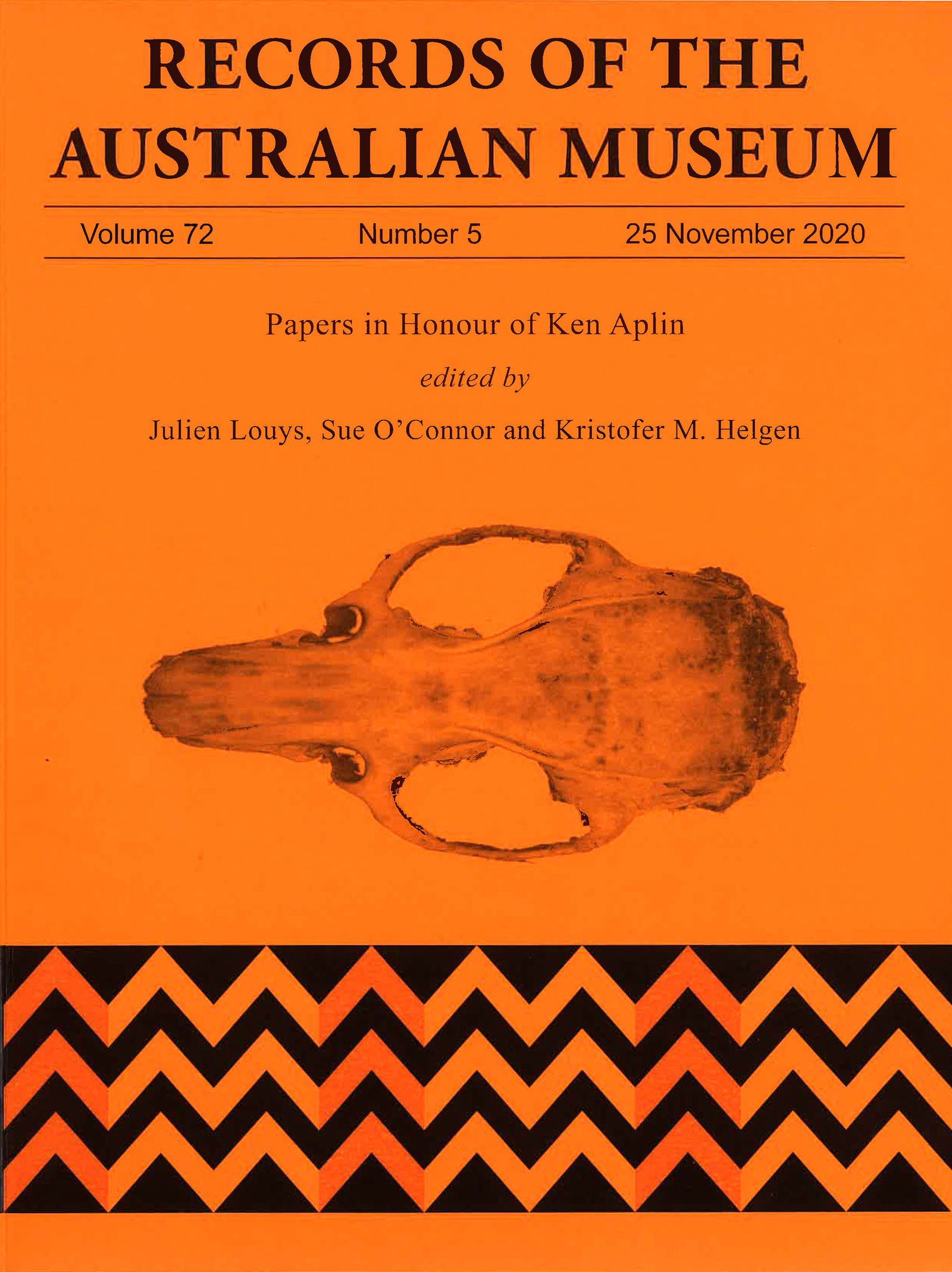 Cover image of Records of the Australian Museum Louys, O'Connor & Helgen. 2020. Rec. Aust. Mus. 72(5). Image includes the skull of Rattus detentus.