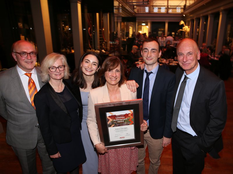 Professor Lesley Hughes with family