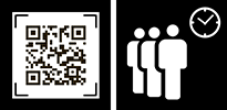 AM QR and queue icons