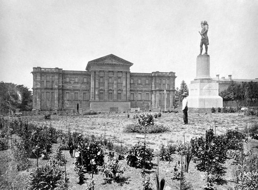 Early image of Australian Museum exterior from Hyde Park.