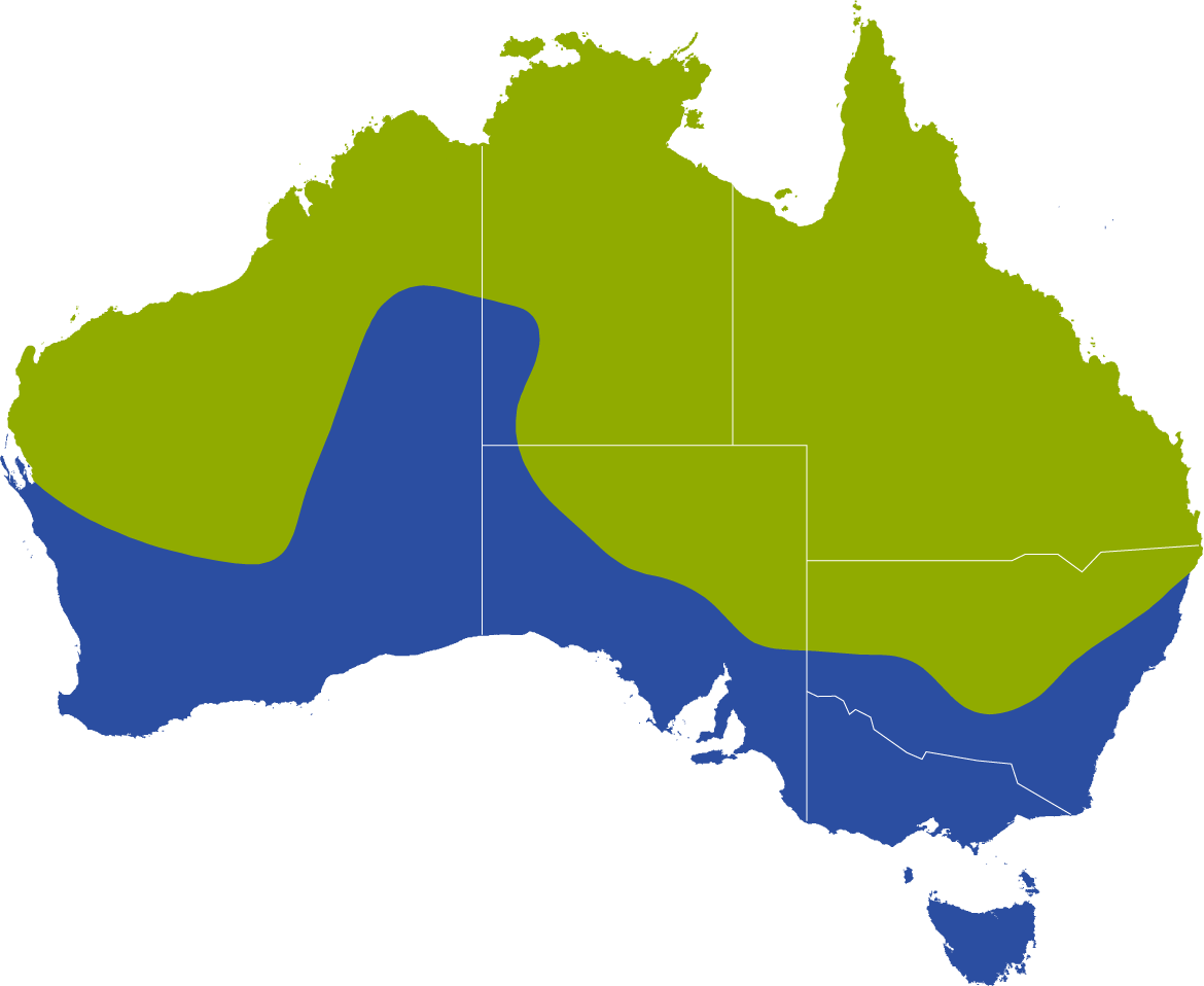 A map showing the geographic distribution of the Red Tree Frog (Litoria rubella)