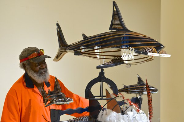Artist Ken Thaiday and his Triple Beizam Hammerhead Shark Headdress