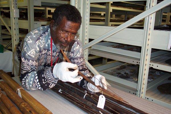 Chief Jerry Taki Uminduru, (1942- 2021) examining Erromango collection