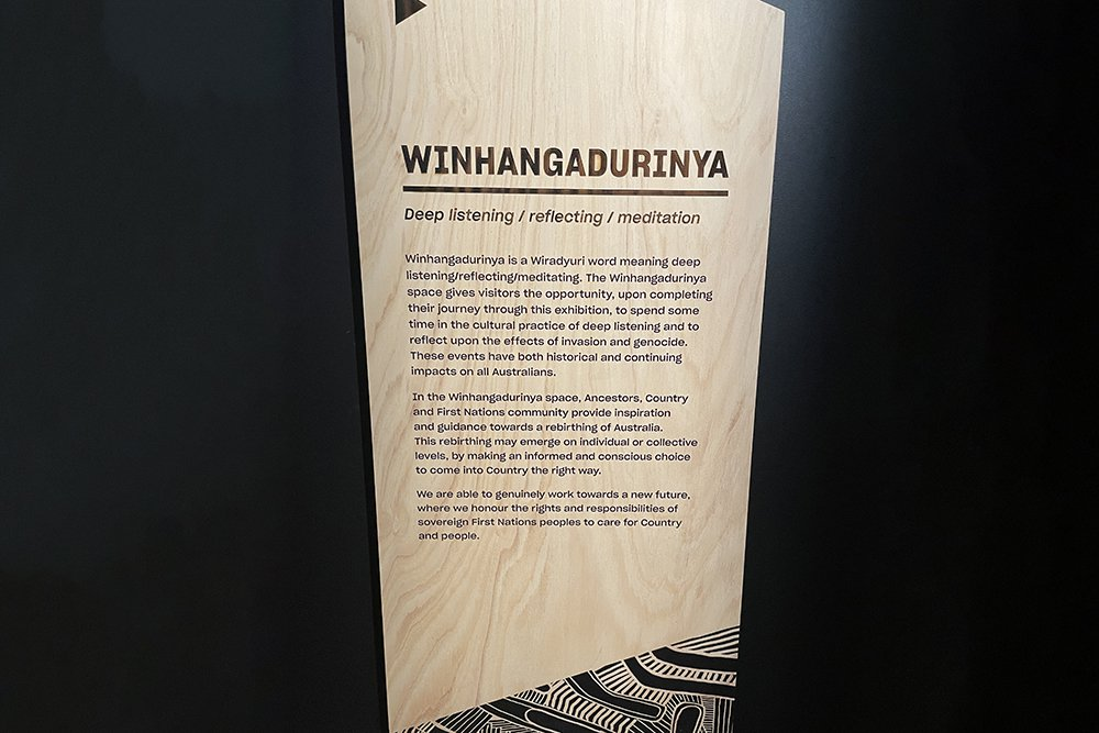 Winhangadurinya sign from Unsettled exhibition
