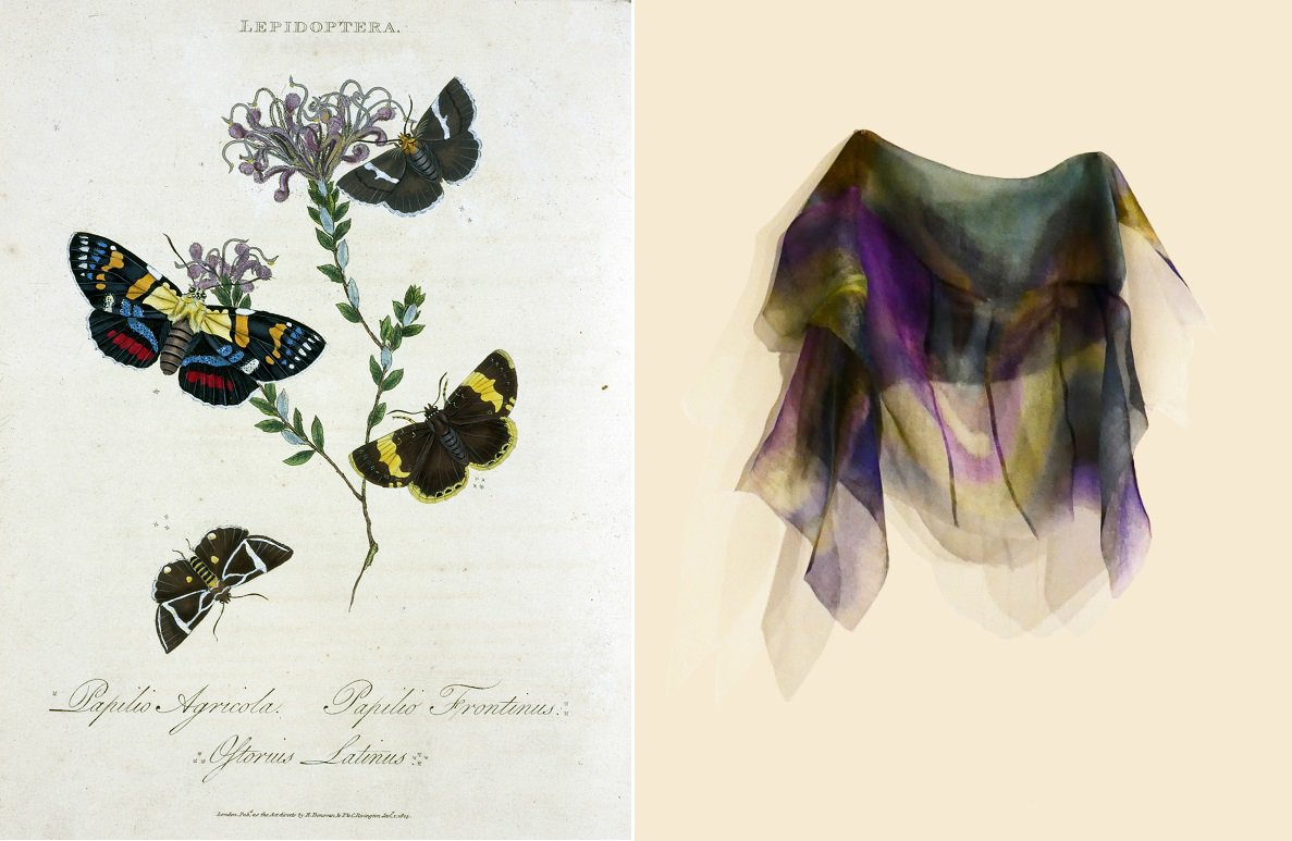 Left: an image from our Rare Books collection. Right: part of a garment made by Donna Sgro
