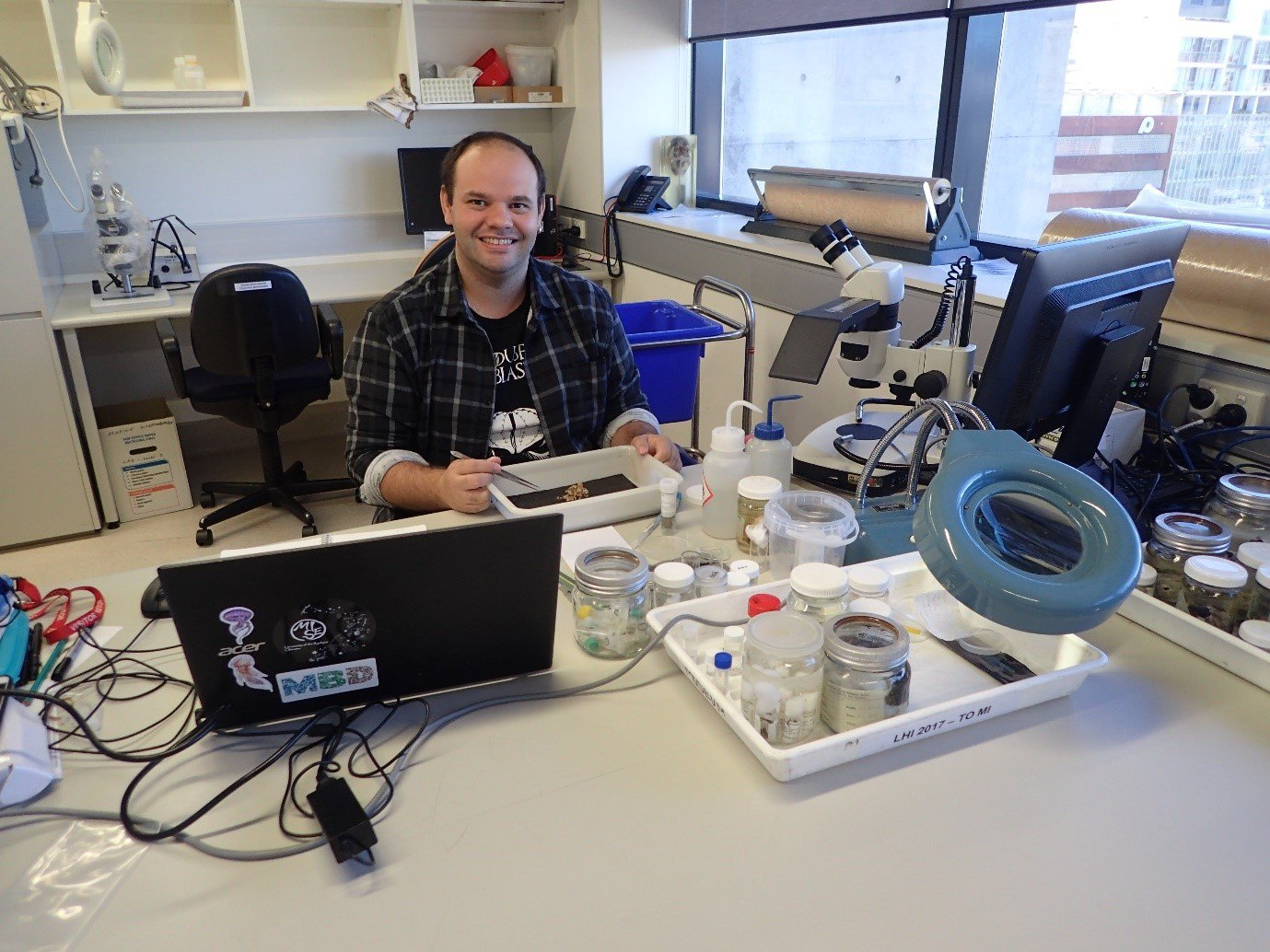 Dr Sérgio Stampar studying tube anemones and other related cnidarians in the Australian Museum Research Institute collections in 2018.