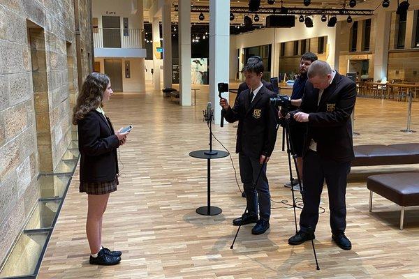Elderslie High School students filming in Hintze Hall