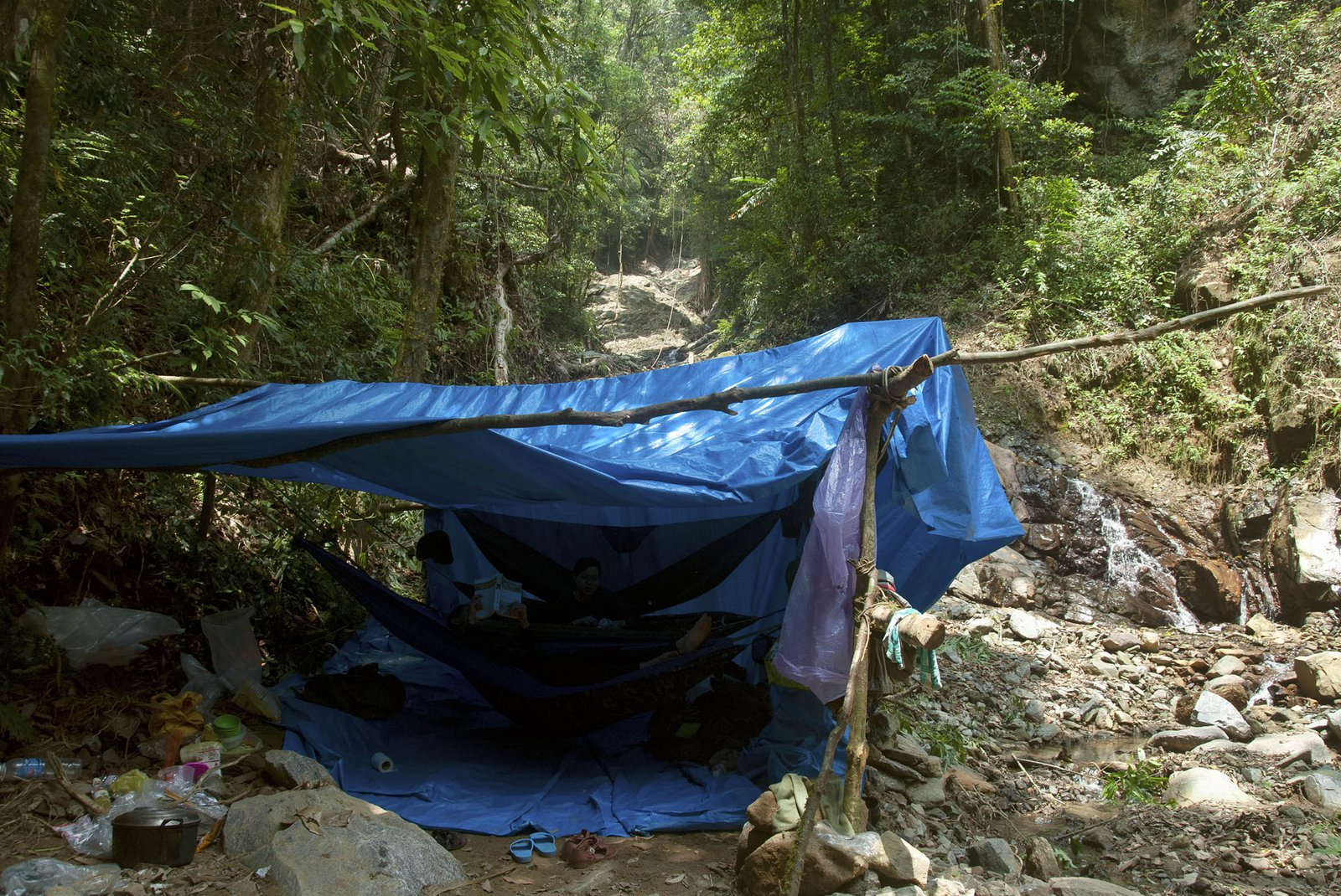 Camp in the forest, central Vietnam.