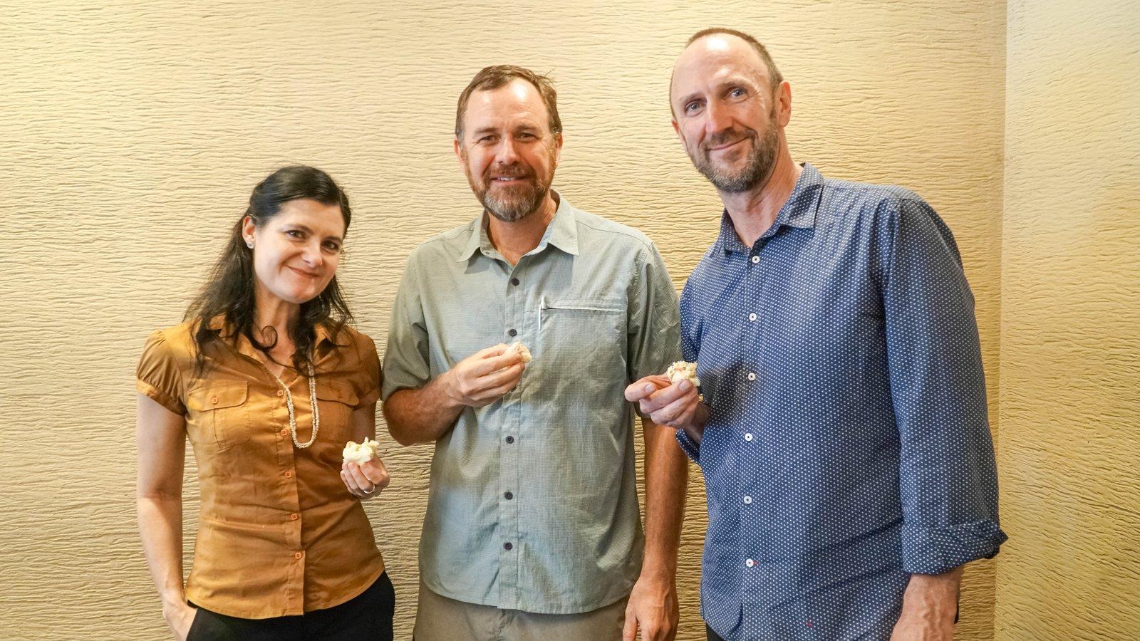 Rebecca Johnson, David McLaren and Paul Flemons enjoy a break during the Honiara workshop, September 2019.