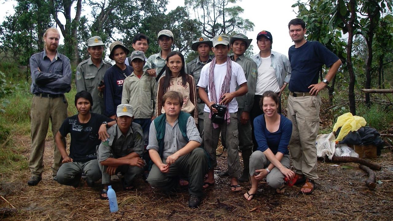 Survey team in Virachey National Park, Cambodia.