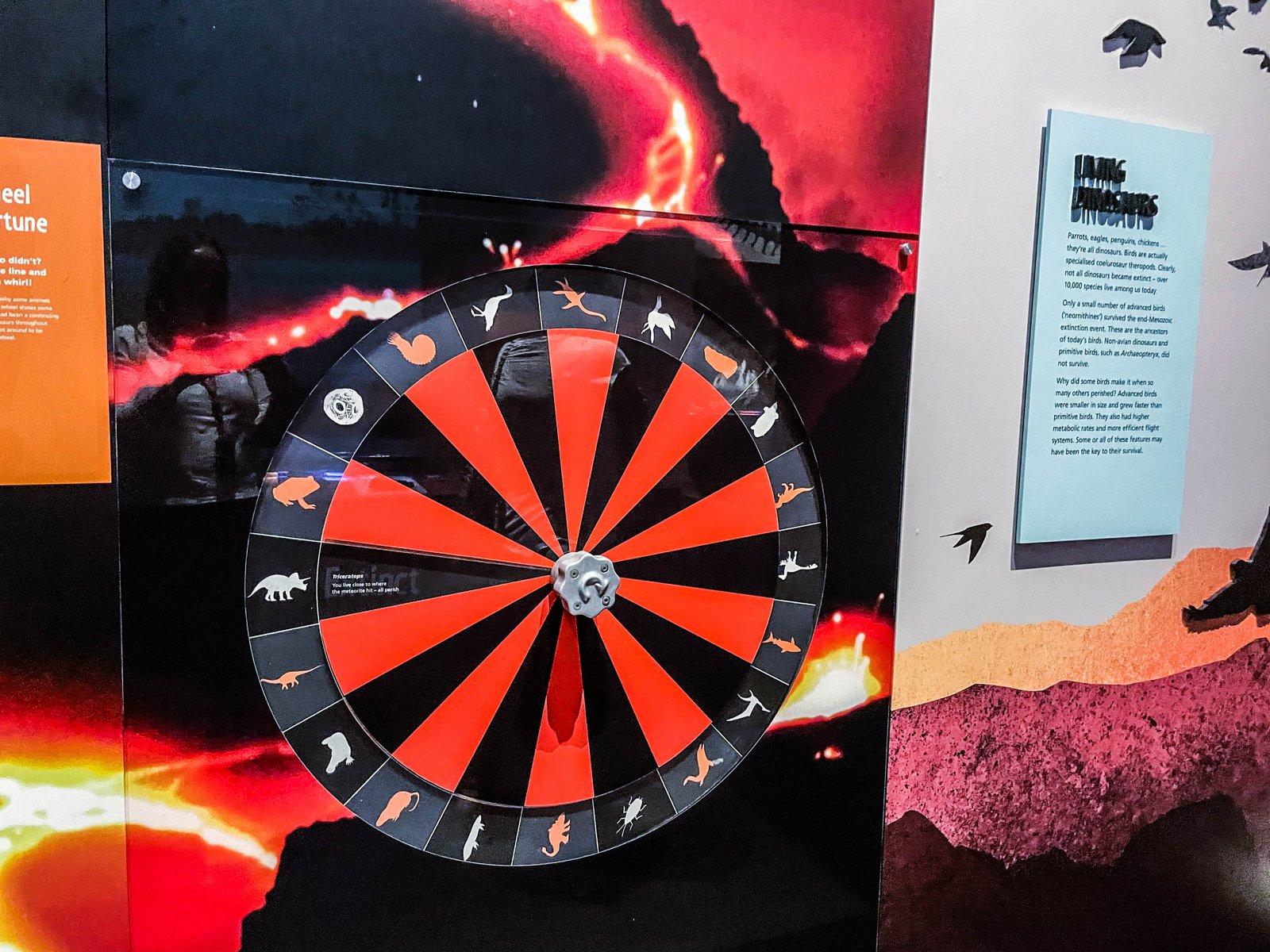 Wheel of misfortune dinosaur exhibition