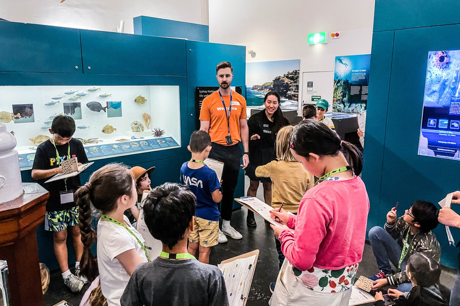 Children exploring exhibitions for Scientist for a Day, Malacologist