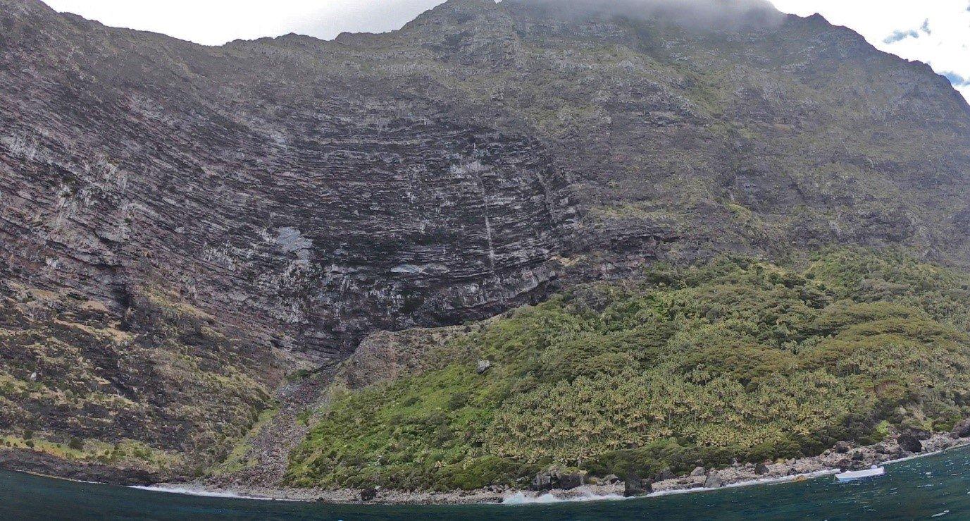 Isolated habitat pocket, Little Slope, at base of cliffs beneath mountain summit.