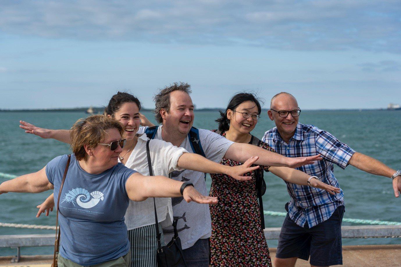 Australian Museum personnel Dr Elena Kupriyanova, Claire Rowe, Dr Ingo Burghardt, Alice Chen Yan and Dr Frank Koehler impersonating a polychaete, 24 June 2021.