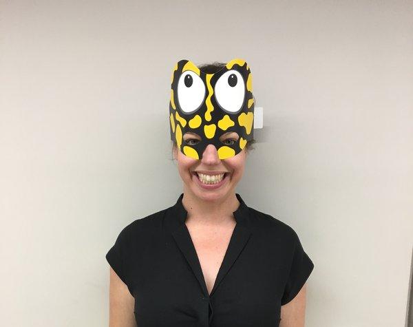 Dr Jodi Rowley as a Corroboree frog