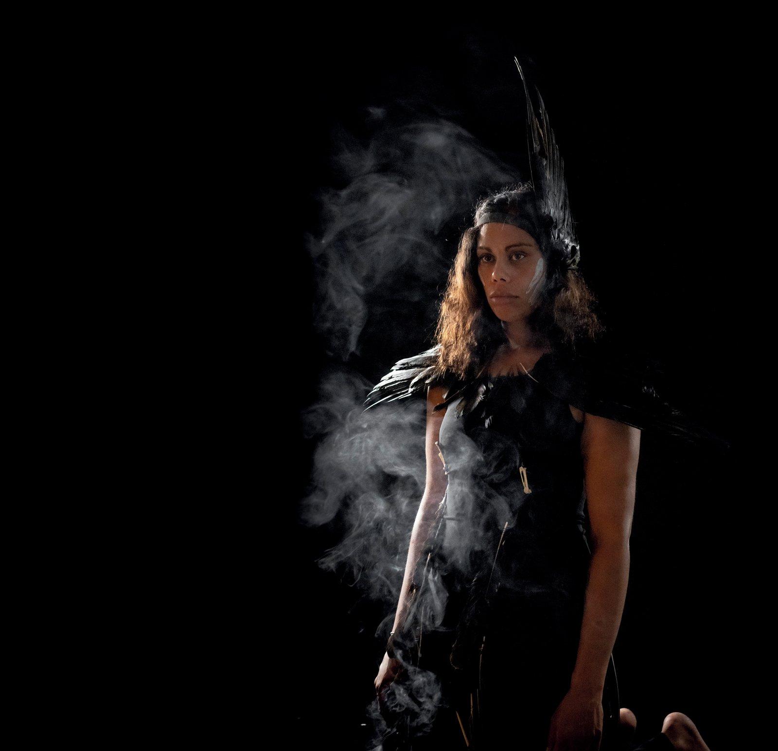 Yuin woman Ashweeni Mason as waagura (Crow) in Living Legacies
