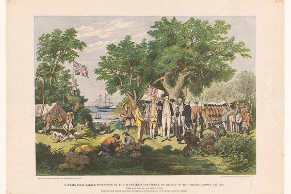 Captain Cook Taking Possession of the Australian Continent on Behalf of the British Crown, AD 1770.