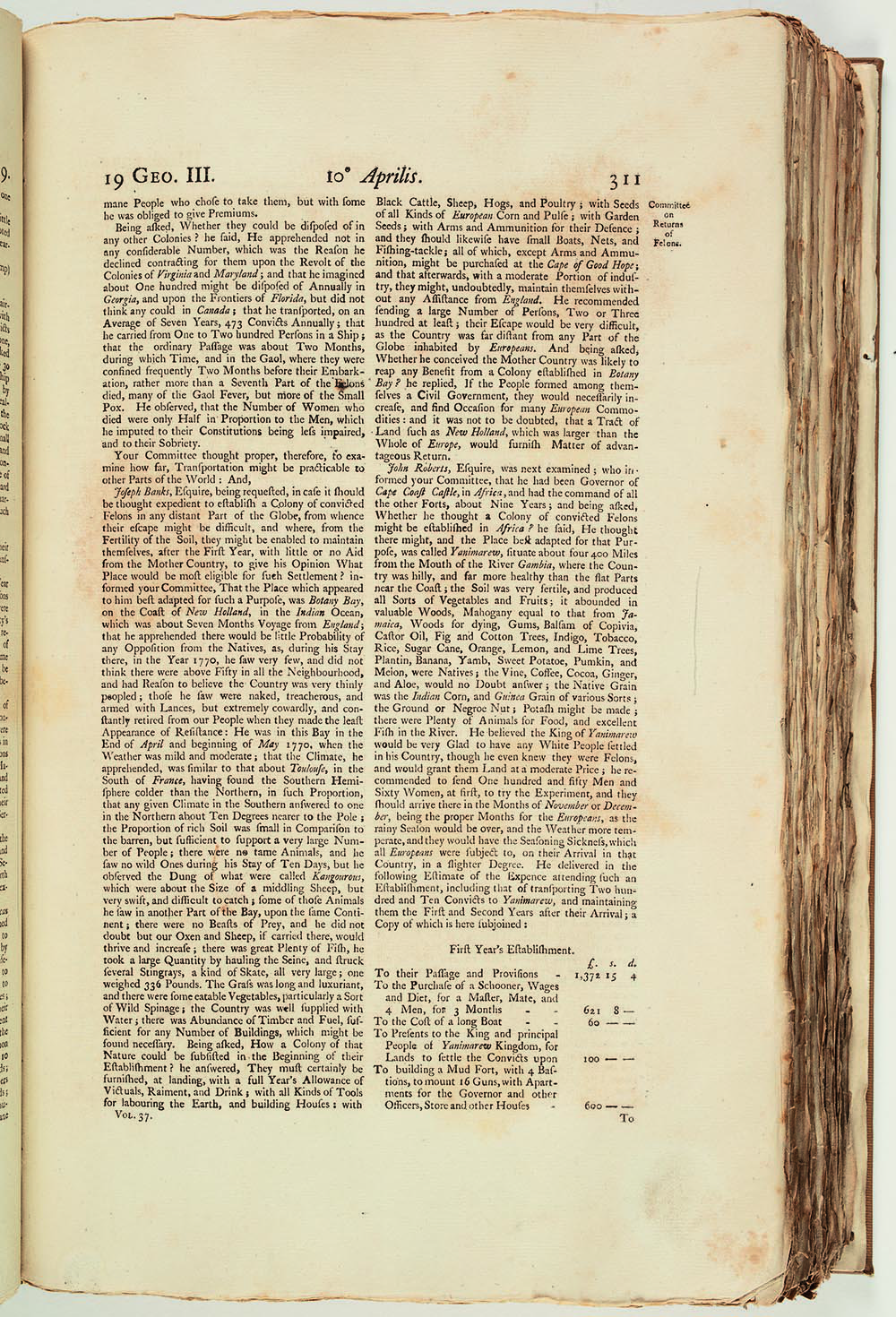 Testimony from Bunbury Parliamentary Committee, 1779
