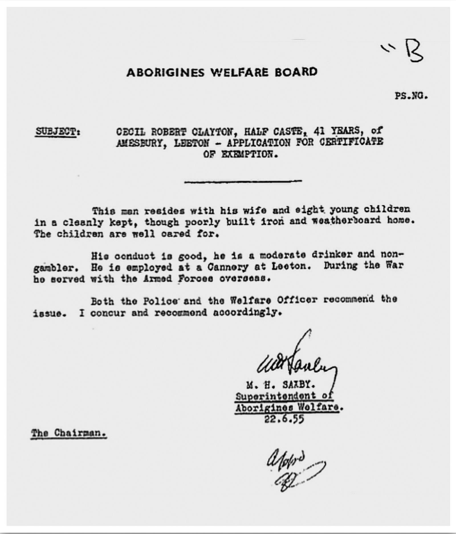 Aborigines Welfare Board Exemption Certificate