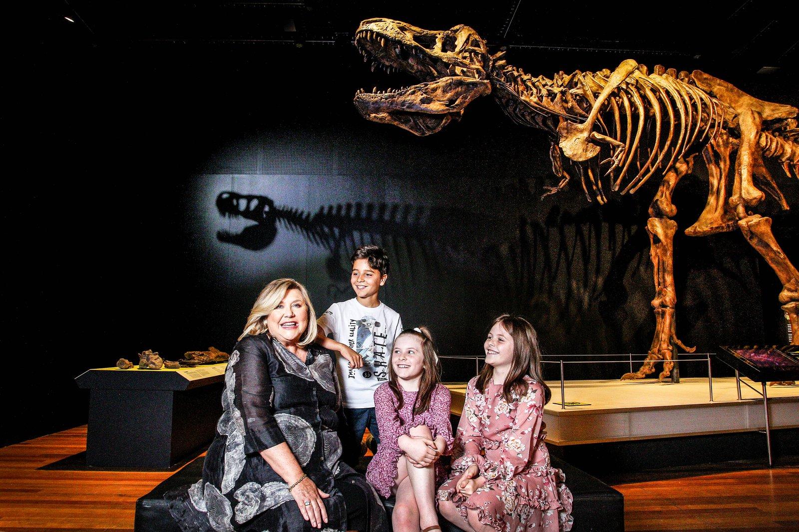 Visitors near T.rex fossil
