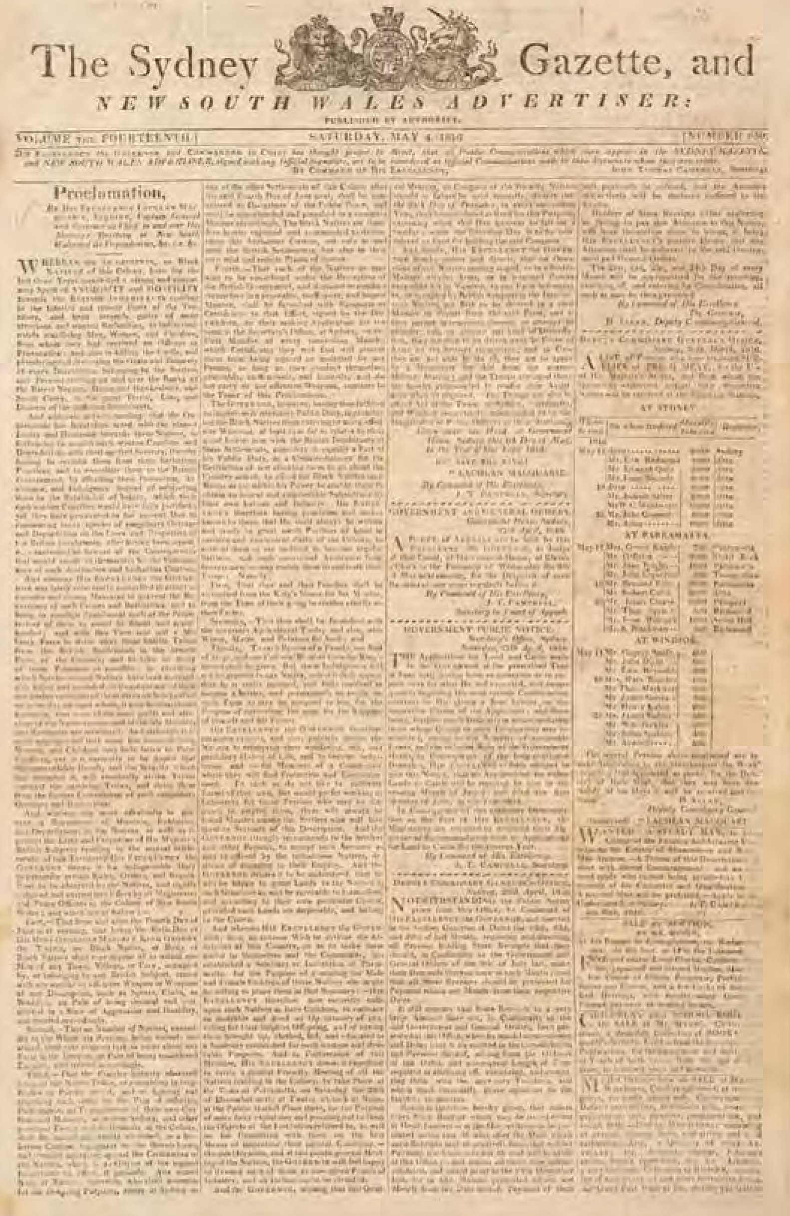 Macquarie's proclamation from The Sydney Gazette