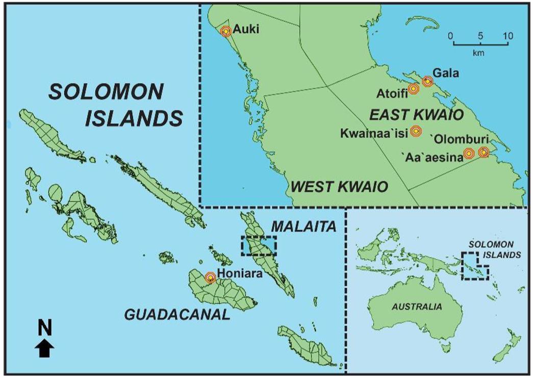 Survey sites AM ornithological expedition Nov 2018 to Malaita, Solomon Islands