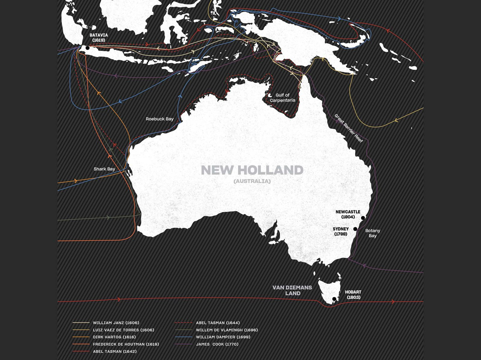 Map of documented voyages to Australia before cook